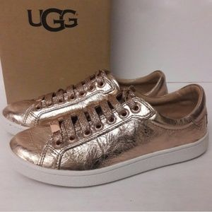 [UGG] Rose Gold Milo Metalic Lace Up Sneakers  8